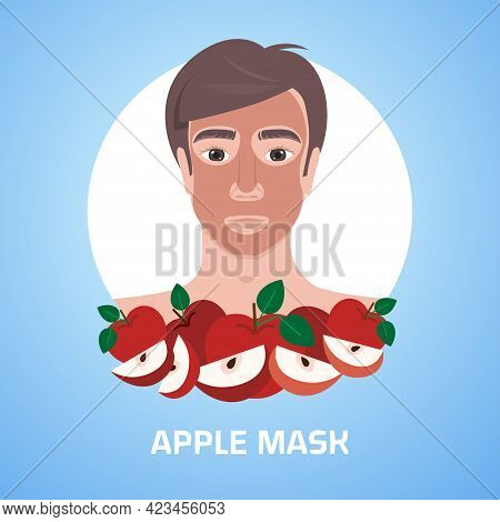 Young Man Applying Apple Fresh Fruit Face Mask Facial Treatment Skincare Concept Portrait