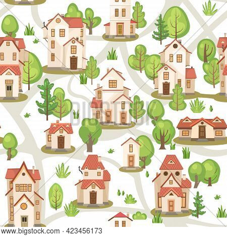 Town With Roads. Map. Seamless Illustration With Cartoon Village Or City Houses. Street. Day. Nice C