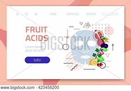 Fruit Acids Fresh Face Mask Facial Treatment Skincare Concept Horizontal Copy Space
