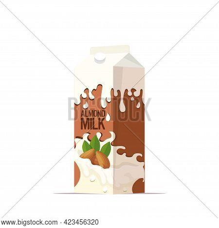 Vegan Almond Plant Based Milk In Paper Package Box Organic Dairy Free Natural Raw Vegan Milk Healthy