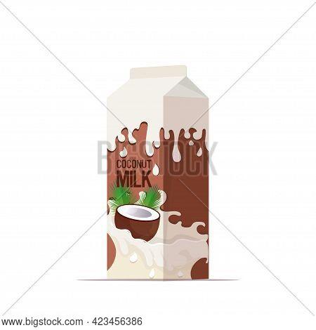 Vegan Coconut Plant Based Milk In Paper Package Box Organic Dairy Free Natural Raw Vegan Milk Health