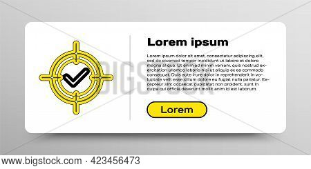 Line Target And Check Mark Icon Isolated On White Background. Dart Board Sign. Archery Board Icon. D