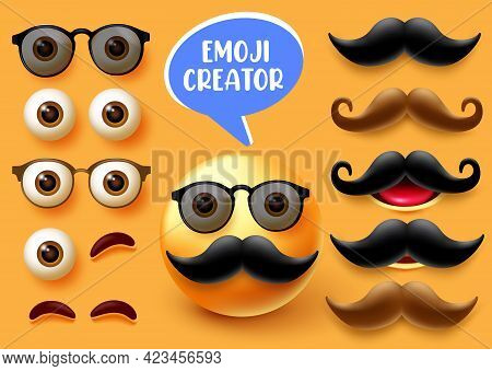 Emoji Male Creator Vector Set. Emojis 3d Man Character Kit With Face Elements Like Eyes Mouth And Mu