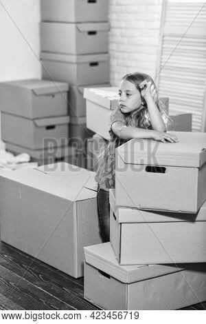 Modern Conveniences. Happy Child Cardboard Box. Moving Concept. New Apartment. Happy Little Girl. Ca