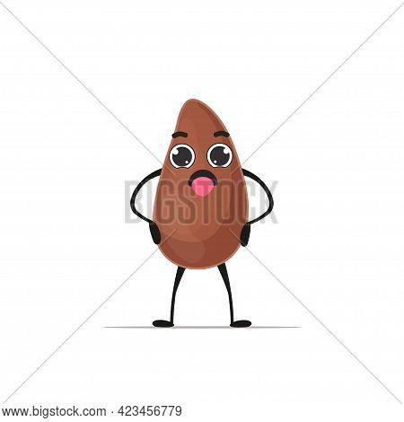 Cute Flax Seed Character Cartoon Mascot Linseed Personage Healthy Vegetarian Food Concept Isolated