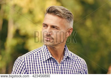 Casual Business Fashion. Male Beauty And Fashion. Mature Handsome Man Outdoor. Well Groomed Man Look