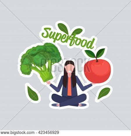 Woman Holding Fresh Broccoli And Apple Healthy Lifestyle Vegan Food Vegetarian Superfood Concept Ful