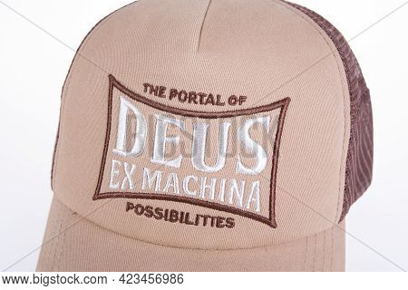 Toulouse , Occitanie France - 06 06 2021 : Deus Ex Machina Customs Cap In The Store With Logo Brand