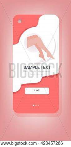 Beautiful Womens Legs With Smooth Skin After Depilation Hair Removal Skincare Concept Smartphone Scr