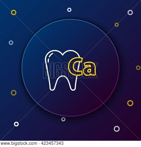 Line Calcium For Tooth Icon Isolated On Blue Background. Tooth Symbol For Dentistry Clinic Or Dentis
