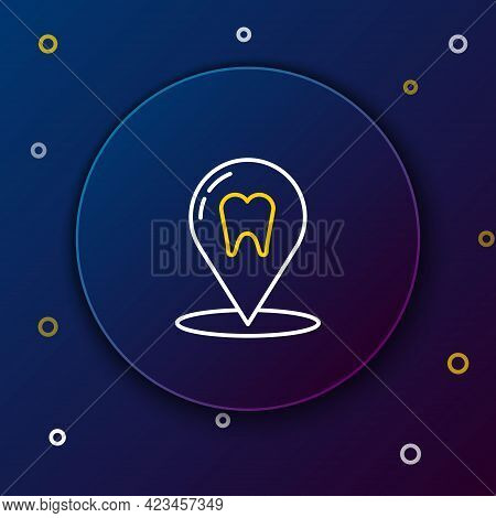Line Dental Clinic Location Icon Isolated On Blue Background. Colorful Outline Concept. Vector