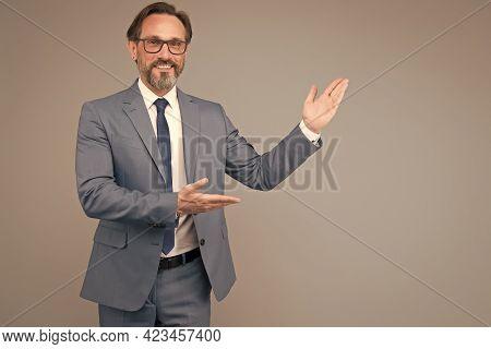 University Professor Giving Presentation. Happy Mature School Teacher. Ceo Business Coach. Lawyer Co