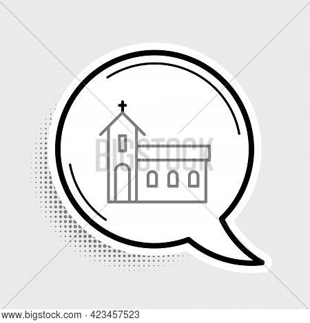 Line Church Building Icon Isolated On Grey Background. Christian Church. Religion Of Church. Colorfu