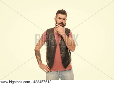 Think Different Way. Hipster With Beard Brutal Guy. Masculinity Concept. Barber Shop And Beard Groom