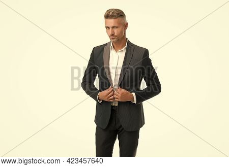 Handsome Senior Manager Wear Formal Suit With Classy Look Isolated On White, Menswear