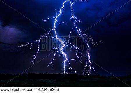 Night Time Lightning Storm Shooting Lightning Bolts