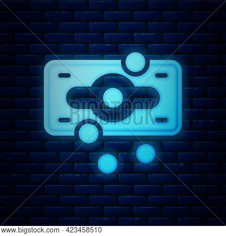 Glowing Neon Stacks Paper Money Cash Icon Isolated On Brick Wall Background. Money Banknotes Stacks.