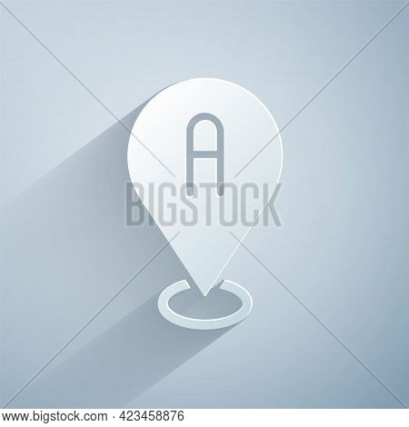 Paper Cut Map Pin Icon Isolated On Grey Background. Navigation, Pointer, Location, Map, Gps, Directi