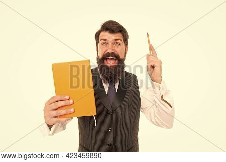 Got Idea. Inspired Teacher Hold Book Raising Pen. Education School. Writer Idea. Creative Writing. I