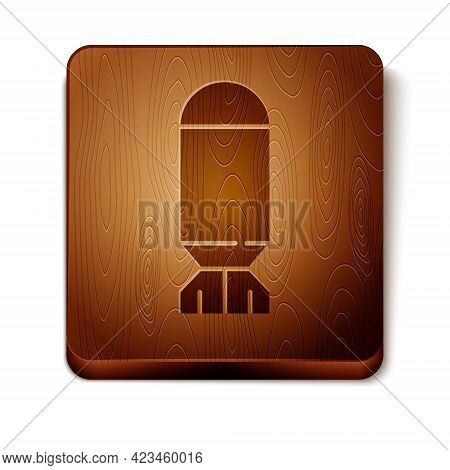 Brown Aviation Bomb Icon Isolated On White Background. Rocket Bomb Flies Down. Wooden Square Button.