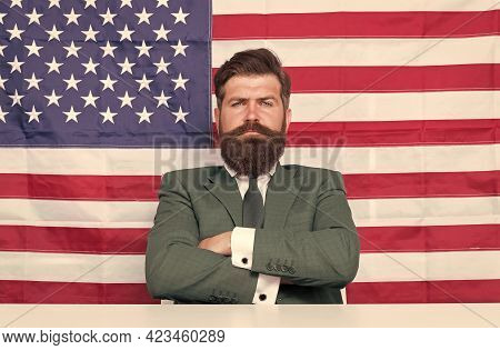 Confident In Future Of His Country. Confident American Keep Arms Crossed. Confident Look Of Serious