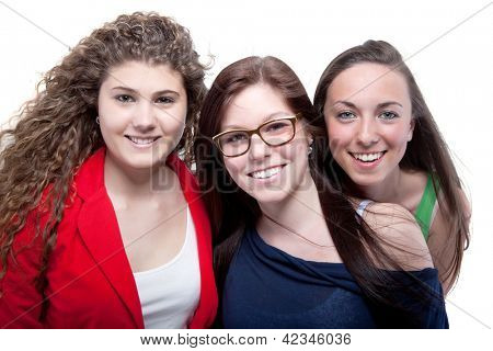 Portrait Of Happy Friends On White Background
