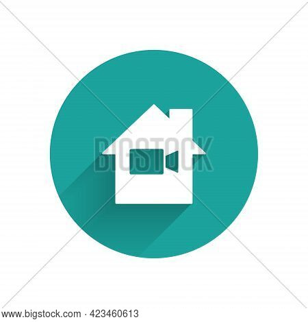 White Video Camera Off In Home Icon Isolated With Long Shadow. No Video. Green Circle Button. Vector