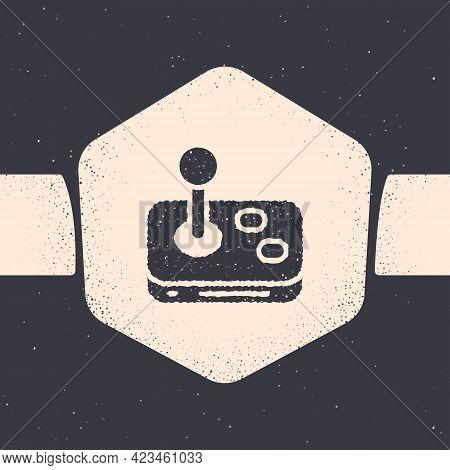 Grunge Joystick For Arcade Machine Icon Isolated On Grey Background. Joystick Gamepad. Monochrome Vi