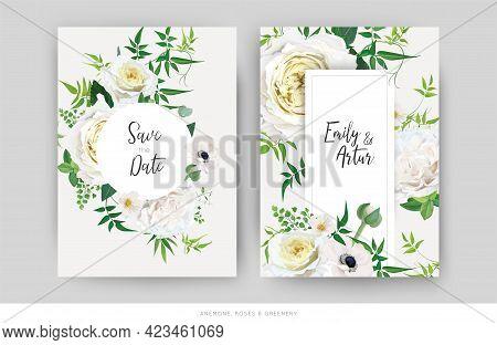 Tender Floral Vector Wedding Invite, Save The Date Card Template Design Set. Elegant Editable Waterc