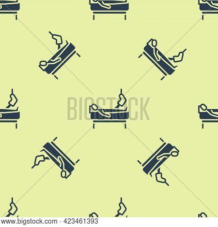 Blue Patient With Broken Leg Is In The Hospital Icon Isolated Seamless Pattern On Yellow Background.