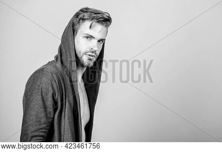 Autumn Style. Male Fashion And Beauty. Unshaven Guy. Sexy Macho In Denim Style. Perfect Look Of Musc