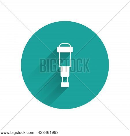 White Spyglass Telescope Lens Icon Isolated With Long Shadow Background. Sailor Spyglass. Green Circ
