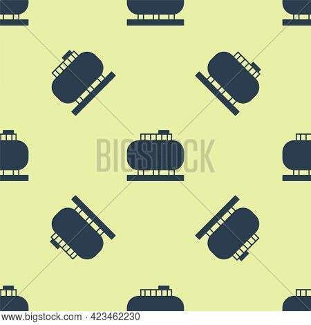 Blue Oil Tank Storage Icon Isolated Seamless Pattern On Yellow Background. Vessel Tank For Oil And G