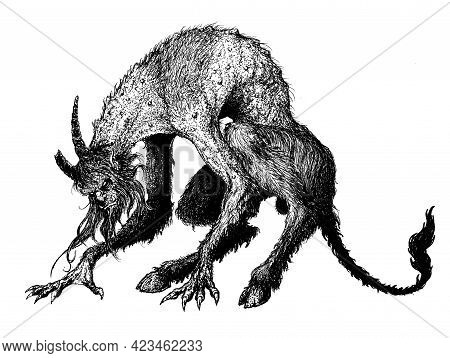 Demon, Fiend Of Hell, Devilish Creature With Horns, Goat Legs And A Tail.