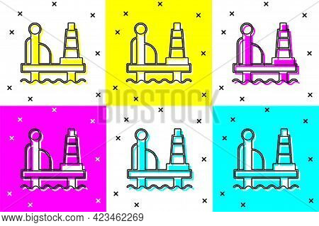 Set Oil Platform In The Sea Icon Isolated On Color Background. Drilling Rig At Sea. Oil Platform, Ga