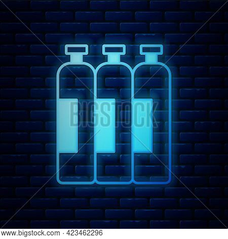 Glowing Neon Industrial Gas Cylinder Tank For All Inert And Mixed Inert Gases Icon Isolated On Brick