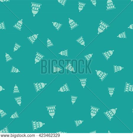Green White House Icon Isolated Seamless Pattern On Green Background. Washington Dc. Vector