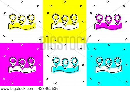 Set Map Pin Icon Isolated On Color Background. Navigation, Pointer, Location, Map, Gps, Direction, P