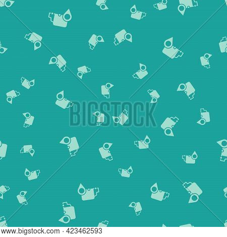 Green Delivery Tracking Icon Isolated Seamless Pattern On Green Background. Parcel Tracking. Vector