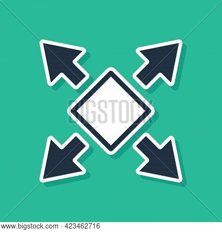 Blue Many Ways Directional Arrow Icon Isolated On Green Background. Vector