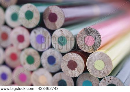 Macro Photography Of Many Multicolored Pencils Background