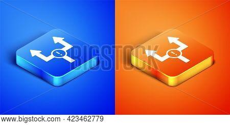 Isometric Arrow Icon Isolated On Blue And Orange Background. Direction Arrowhead Symbol. Navigation