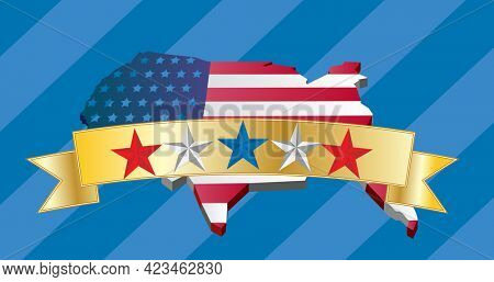 Multiple stars on golden ribbon over american flag design on us map against striped blue background. american independence template background design concept