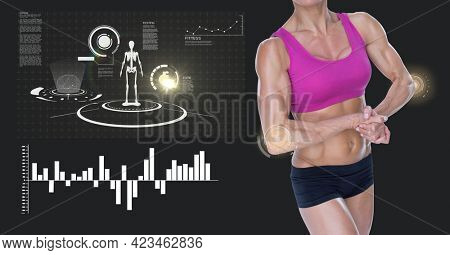 Mid section of caucasian female athlete flexing against digital interface with data processing. sports, fitness and technology concept