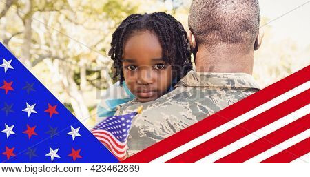 American flag design against rear view of african american soldier carrying his son. american independence day celebration concept
