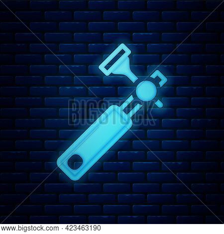 Glowing Neon Jewelers Lupe For Diamond Grading With Dimond Icon Isolated On Brick Wall Background. V