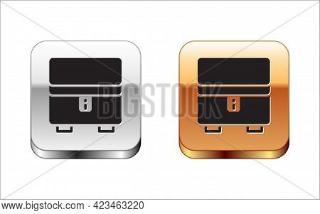 Black Jewelry Box Icon Isolated On White Background. Casket With Jewelry. Silver And Gold Square But