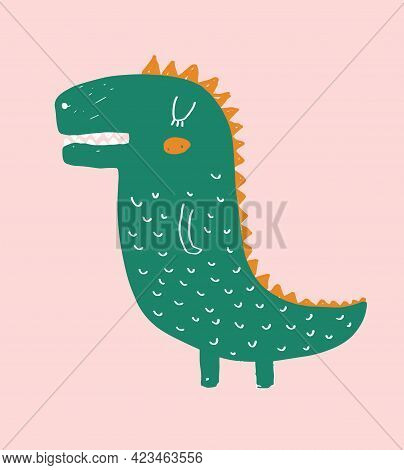 Cute Simple Vector Illustration With Green Alligator Isolated On A Light Pink Background. Simple Nur