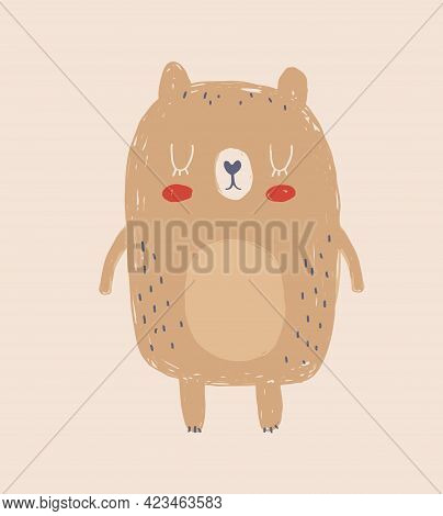 Cute Hand Drawn Vector Illustration With Little Bear. Lovely Nursery Art With Funny Brown Bear On A