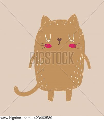 Cute Hand Drawn Vector Illustration With Little Cat. Lovely Nursery Art With Funny Brown Kitty On A